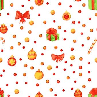Reticolo di natale in stile retrò. sfondo infinito invernale. illustrazione colorata può essere utilizzata per la stampa su carta e tessuto. vacanza. tema di capodanno. corona, agrifoglio e altri simboli tradizionali.