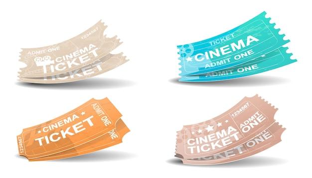 Biglietti del cinema in stile retrò. passaggio del cinema isolato su priorità bassa bianca. icona realistica del biglietto del cinema in stile piano. illustrazione vettoriale
