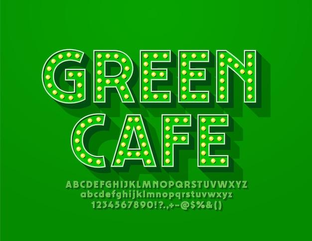 Logo in stile retrò green cafe con carattere in stile retrò. lettere e numeri dell'alfabeto illuminati dalla lampada