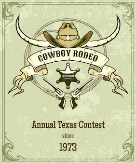 Poster di rodeo in stile retrò. design in stile americano, banner con corda e nastro e longhorn.