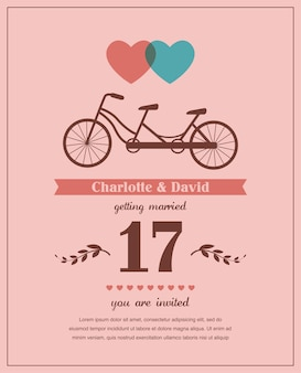 Carta di san valentino o matrimonio in stile retrò con bicicletta in tandem