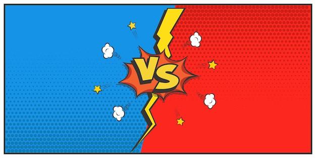 Stile retrò contro logo, lettere vs. battaglia, partita, duello, concetto di concorrenza. fumetto del fumetto e fulmini
