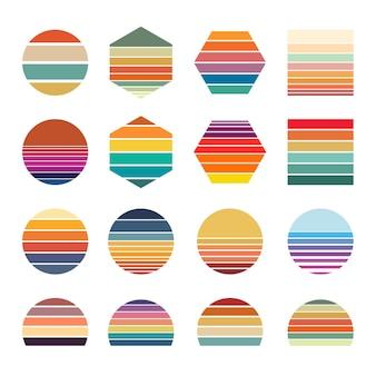 Collezione tramonto retrò per striscioni o stampe di forme a strisce retrowave in stile anni '80