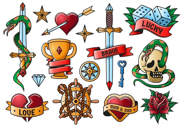 Tatuaggio retrò rosa, coltello, cuore, simboli della vecchia scuola del teschio. gli elementi dell'incisione del tatuaggio dell'annata hanno isolato l'insieme dell'illustrazione di vettore. tatuaggi artistici della vecchia scuola