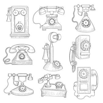 Telefono retrò. oggetti di comunicazione disegnati a mano di gadget di vecchia tecnologia antica.