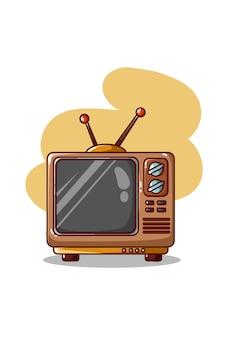 Retro televisione isolata su bianco