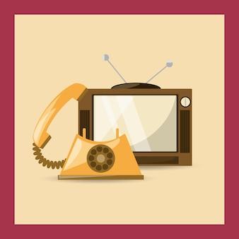 Retro icona di televisione e telefono su sfondo colorato
