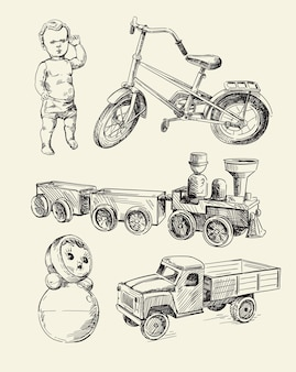 Set di schizzi di giocattoli retrò old time