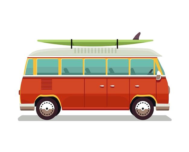 Icona di furgone rosso retrò viaggio