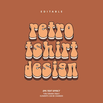 Tshirt retrò design personalizzato effetto testo vintage modificabile premium premium vector