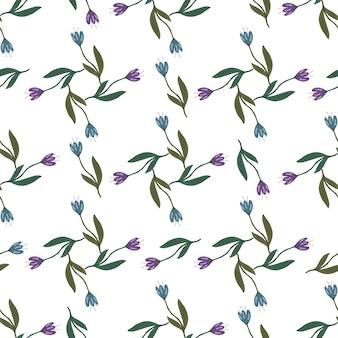 Reticolo senza giunte del fiore retrò tulipano isolato su priorità bassa bianca. carta da parati decorativa con ornamenti floreali. disegno botanico. per il design del tessuto, la stampa tessile, il confezionamento, la copertura. illustrazione vettoriale vintage
