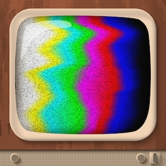 Test tv retrò con linee ondulate colorate