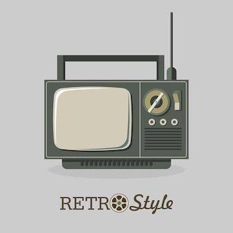Tv retrò. illustrazione vettoriale, logo, icona.
