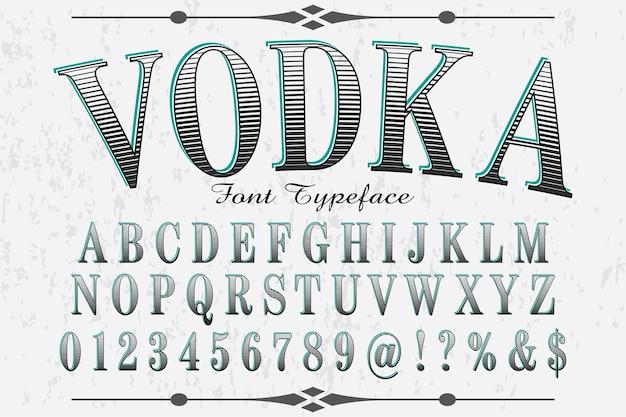 Vodka design etichetta tipografica retrò