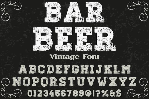 Birra della barra di disegno di etichetta di retro tipografia
