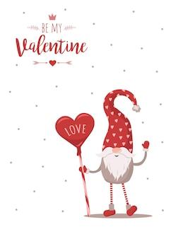 Carta di san valentino retrò con illustrazione di gnomo