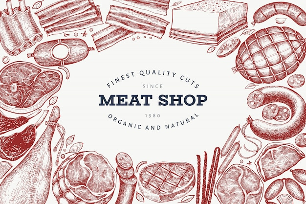Prodotti di telaio di carne retrò vettoriale