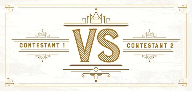 Retro contro lettere. vs logo. simbolo della concorrenza. illustrazione vettoriale.