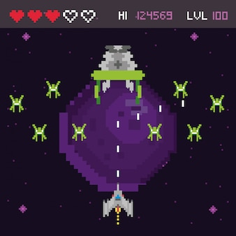 Scena pixelata spazio per videogiochi retrò