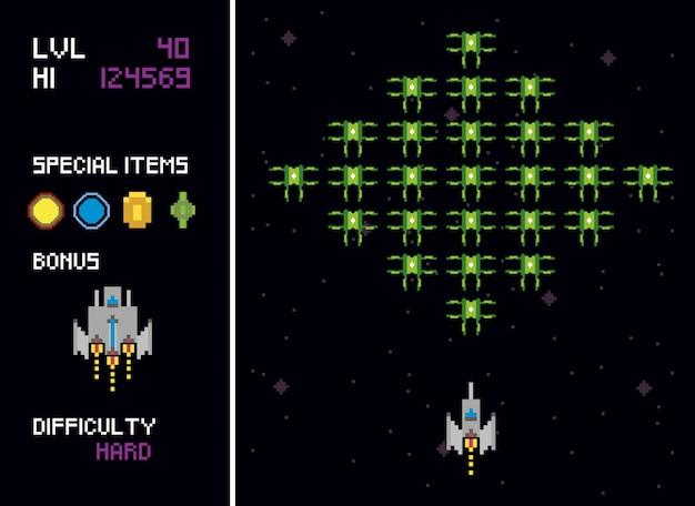 Scene pixelate di spazio per videogiochi retrò