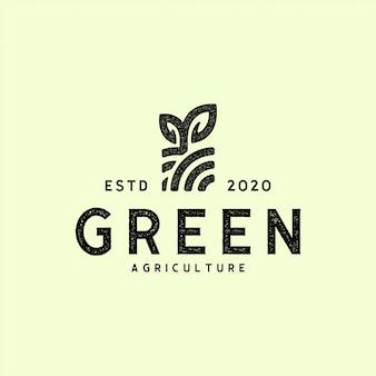Retro agricoltura d'annata, illustrazione di progettazione di logo dell'azienda agricola di eco