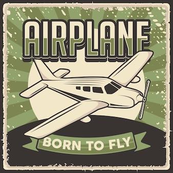 Retro segno del manifesto dell'aeroplano dell'annata