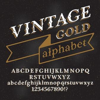 Carattere alfabeto vintage retrò. lettere e numeri di tipo personalizzato su uno sfondo scuro del grunge.