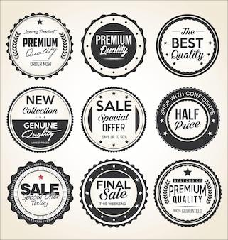 Collezione di etichette e distintivi vintage retrò in bianco e nero