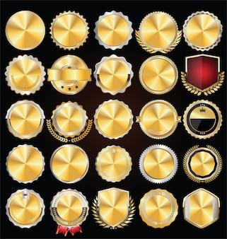 Collezione di distintivi ed etichette dorati vuoti vintage retrò