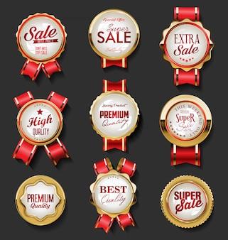 Collezione di etichette e distintivi retrò oro e rosso vintage