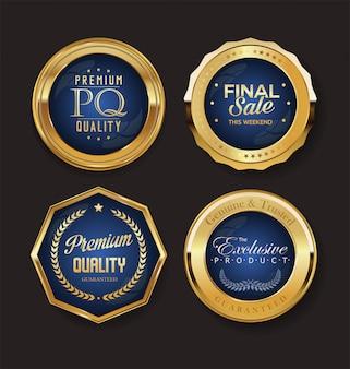 Collezione di etichette e distintivi d'oro retrò vintage