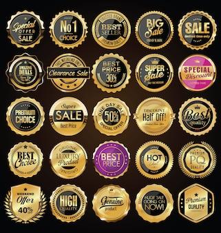 Collezione di distintivi ed etichette dorati vintage retrò