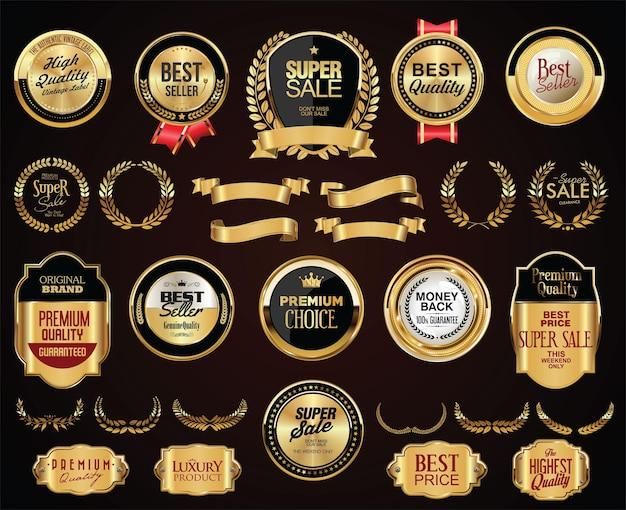 Distintivi dorati vintage retrò etichette nastri e scudi