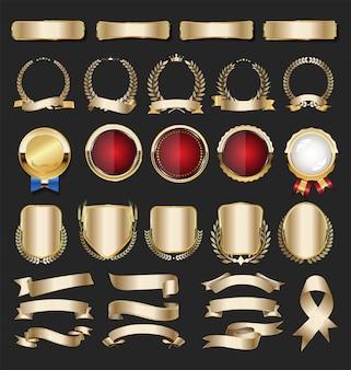 Etichette e distintivi dorati vintage retrò