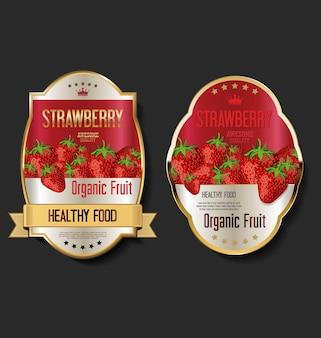 Etichette dorate vintage retrò per prodotti a base di frutta biologica
