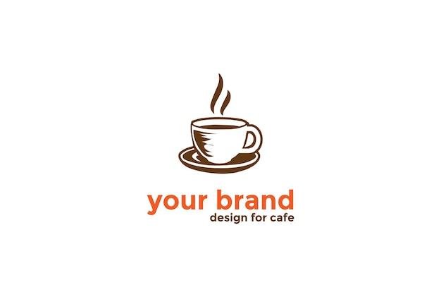 Tazza da caffè disegnata a mano vintage retrò con chicco di caffè per cafe restaurant o farm product logo design vector