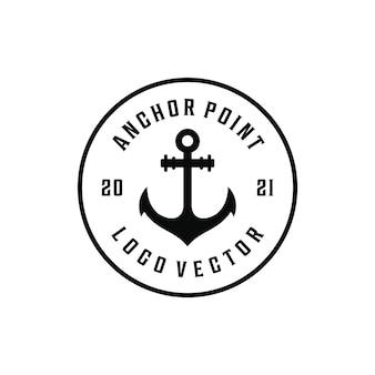 Punto di ancoraggio marinaio hipster vintage retrò crociera logo design marino