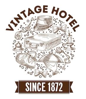 Hotel retrò o vintage, elementi di servizi per turisti vecchio stile e simbolici. schizzo monocromatico contorno di cappello, bagaglio e piatto da portata, chiavi della camera e candela in cerchio. vettore in stile piatto