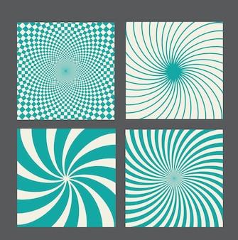 Set di sfondo ipnotico vintage retrò. illustrazione vettoriale