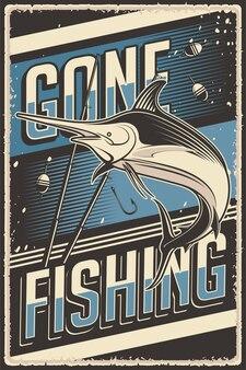 Grafica vettoriale di illustrazione vintage retrò di pesca adatta per poster o segnaletica in legno