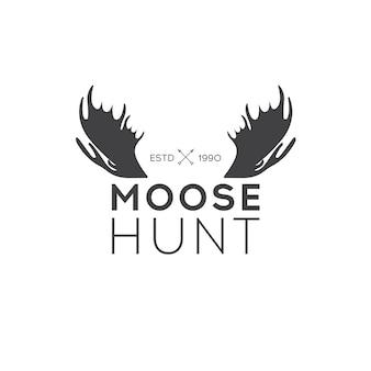 Retro vintage insignia o logotype elemento di disegno vettoriale, modello di business sign. caccia di cervi. caccia per l'alce. caccia alce.