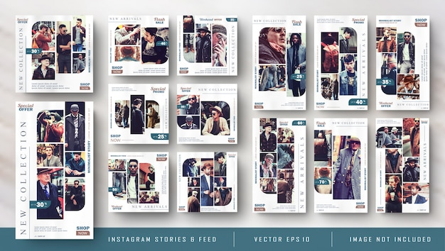 Storie di instagram vintage retrò e feed post bundle kit banner