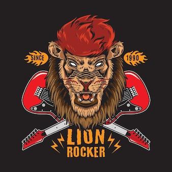 Retro vintage lion rock n roll con illustrazione di chitarra incrociata