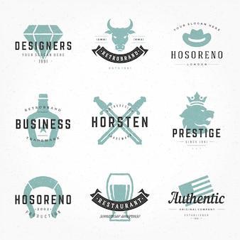 Logotipi vintage retrò o insegne