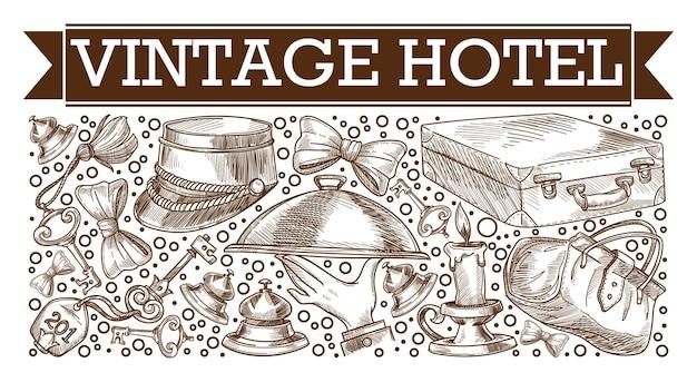 Aspetto retrò e vintage di elementi di hotel, schizzo monocromatico del berretto da maggiordomo, piatto servito dal cameriere. chiavi della camera e bagagli, lume di candela vecchio stile. vettore classico in stile piatto