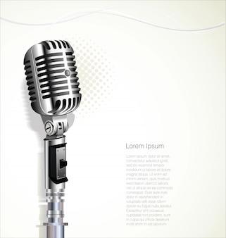 Retro priorità bassa di disegno del microfono dell'annata
