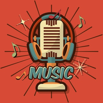 Dispositivo vintage retrò microfono nota musicale