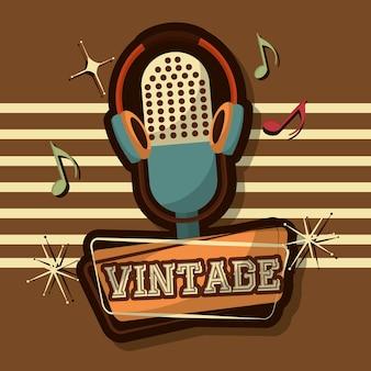 Dispositivo di note musicali microfono vintage retrò