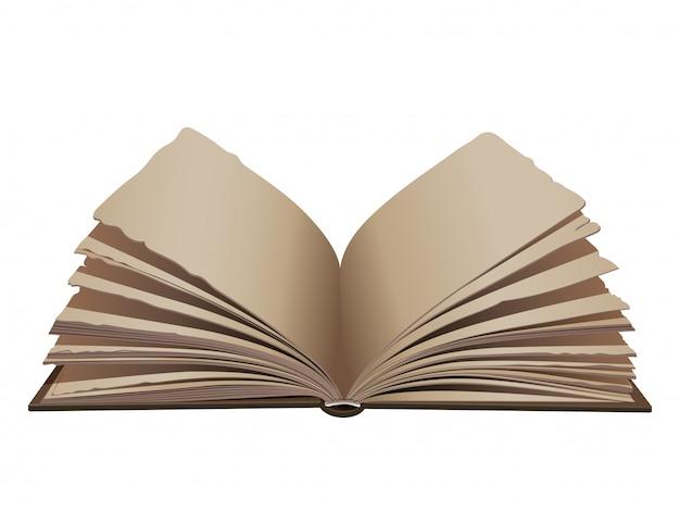 Libro aperto retro annata con la copertura marrone su fondo bianco.