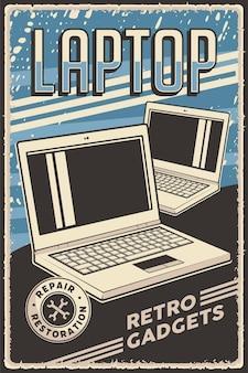 Restauro del servizio di riparazione del computer portatile del notebook di retro gadget del manifesto dell'annata